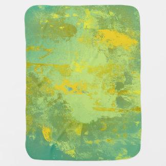 Mantita Para Bebé Arte abstracto verde y amarillo