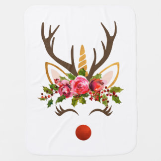 Mantita Para Bebé Asta del reno del unicornio/flores del navidad