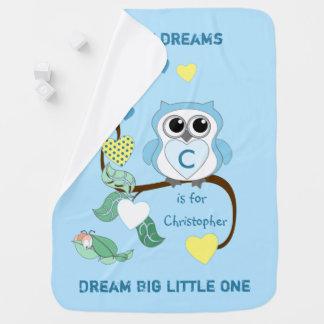 Mantita Para Bebé Bebé azul personalizado del búho