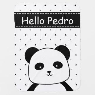 Mantita Para Bebé Bebé blanco y negro del monocromo de la panda