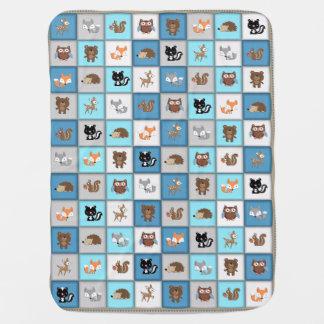 Mantita Para Bebé *Blue de Quiltlike de los animales del bebé del