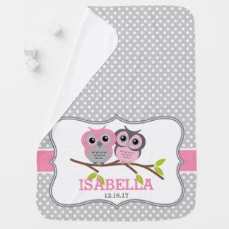 Mantita Para Bebé Búhos adorables personalizados