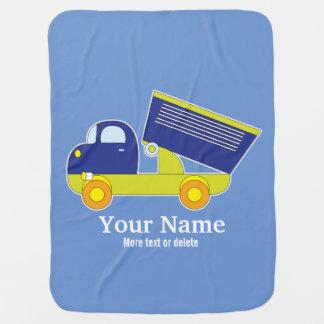Mantita Para Bebé Camión volquete azul y verde personalizado de la