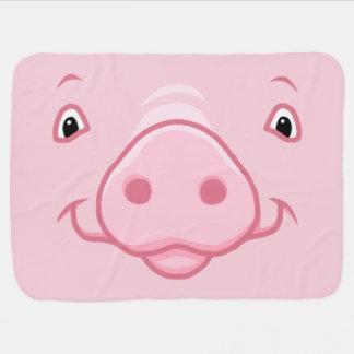 Mantita Para Bebé Cara rosada feliz linda del cerdo