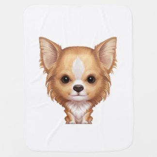 Mantita Para Bebé Chihuahua beige y blanca de pelo largo
