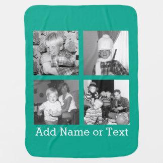 Mantita Para Bebé Collage con 4 imágenes - esmeralda de la foto de