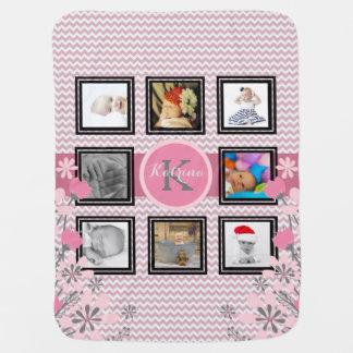 Mantita Para Bebé Collage personalizado el | Chevron rosado de la