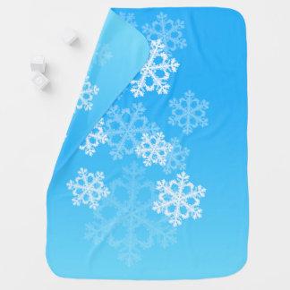 Mantita Para Bebé Copos de nieve lindos del navidad azul y blanco