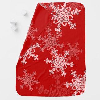 Mantita Para Bebé Copos de nieve lindos del navidad rojo y blanco