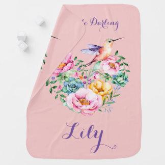 Mantita Para Bebé Corazón y colibrí de la flor del cuarzo color de