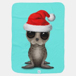 Mantita Para Bebé Cría de foca que lleva un gorra de Santa