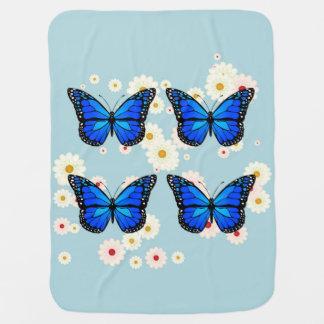 Mantita Para Bebé Cuatro mariposas azules
