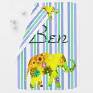 Mantita Para Bebé Divertido, personalizado, tiras, elefante, floral