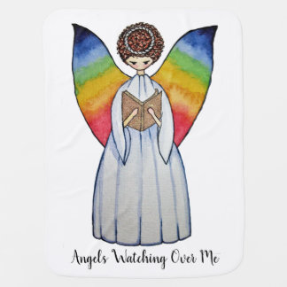 Mantita Para Bebé El ángel de la acuarela con el arco iris se va