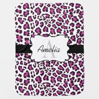 Mantita Para Bebé El blanco negro púrpura del estampado leopardo