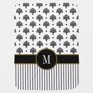 Mantita Para Bebé El damasco blanco negro elegante raya el monograma