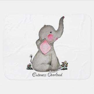 Mantita Para Bebé El elefante lindo del bebé de la acuarela con se