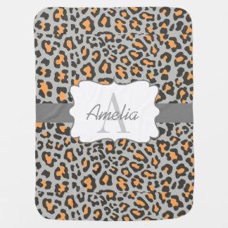 Mantita Para Bebé El gris negro anaranjado del estampado leopardo