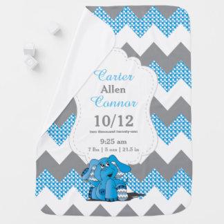 Mantita Para Bebé Elefante azul divertido de Chevron