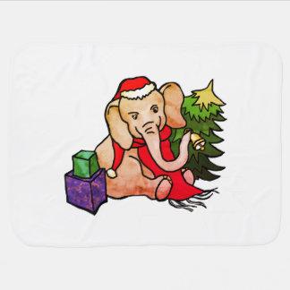 Mantita Para Bebé Elefante colorido adorable de Santa en la nieve