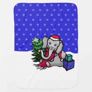 Mantita Para Bebé Elefante dulce del dibujo animado del navidad en