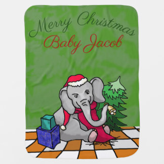 Mantita Para Bebé Elefante lindo personalizado de Santa de las