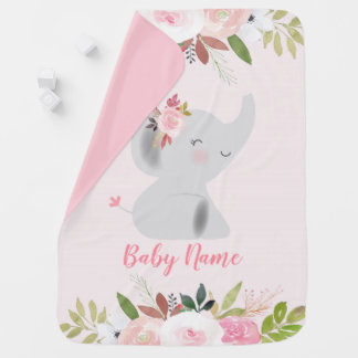 Mantita Para Bebé Elefante rosado floral