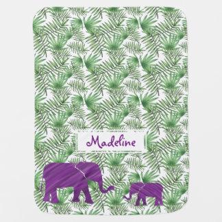 Mantita Para Bebé Elefantes y selva púrpuras de las hojas de palma