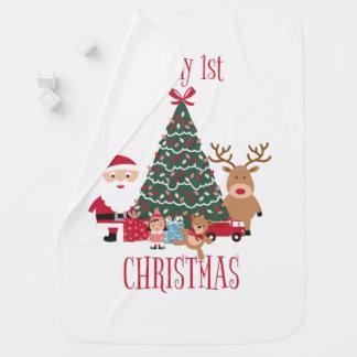 Mantita Para Bebé Es mi primer árbol de navidad Santa y reno