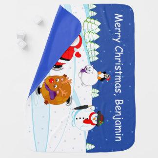 Mantita Para Bebé Escena de la nieve patinaje de hielo de Papá Noel