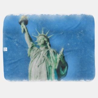Mantita Para Bebé Estatua de la libertad, pintura de las acuarelas