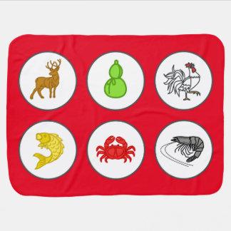 Mantita Para Bebé Estera roja china del juego del cangrejo de la