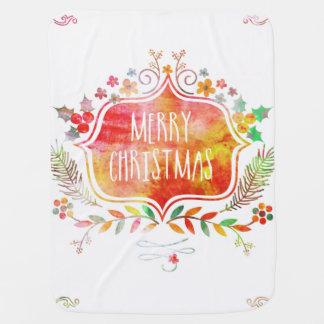 Mantita Para Bebé Felices Navidad retras de la acuarela
