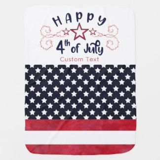 Mantita Para Bebé Feliz el 4 de julio con el texto de encargo