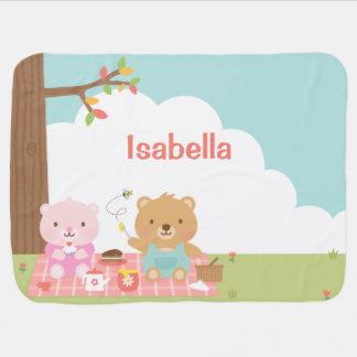 Mantita Para Bebé Fiesta lindo de la comida campestre del oso de