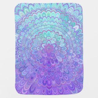 Mantita Para Bebé Flor de la mandala en azul claro y púrpura