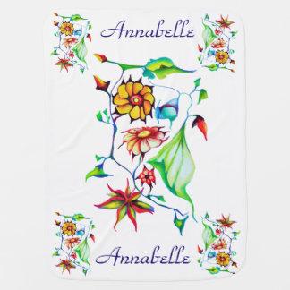 Mantita Para Bebé Floral exótico encantador caprichoso elegante