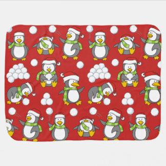 Mantita Para Bebé Fondo de los pingüinos del navidad