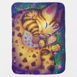 Mantita Para Bebé gato de leopardo de la noche de la noche