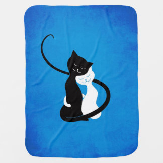 Mantita Para Bebé Gatos blancos y negros lindos azules en amor