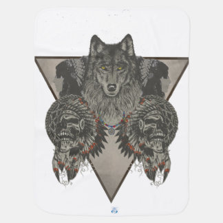 Mantita Para Bebé Indios cráneo y diseño del lobo