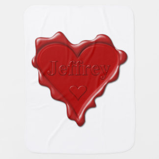 Mantita Para Bebé Jeffrey. Sello rojo de la cera del corazón con