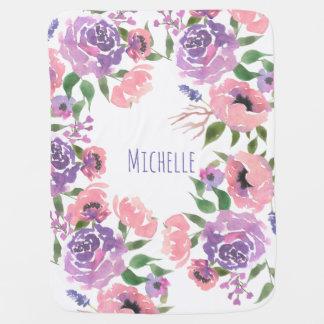 Mantita Para Bebé La acuarela florece las hojas florales violetas