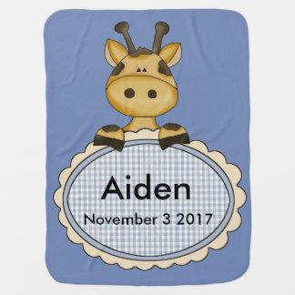 Mantita Para Bebé La jirafa personalizada de Aiden