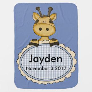 Mantita Para Bebé La jirafa personalizada de Jayden