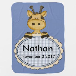 Mantita Para Bebé La jirafa personalizada de Nathan