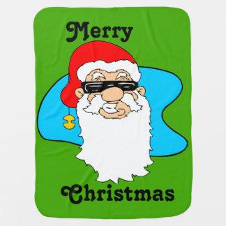 Mantita Para Bebé Las Felices Navidad refrescan Santa en gafas de