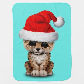 Mantita Para Bebé Leopardo lindo Cub que lleva un gorra de Santa