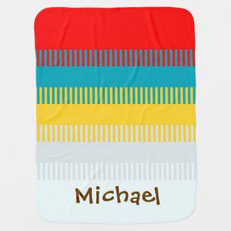 Mantita Para Bebé Lindo gris blanco amarillo azul rojo personalizada