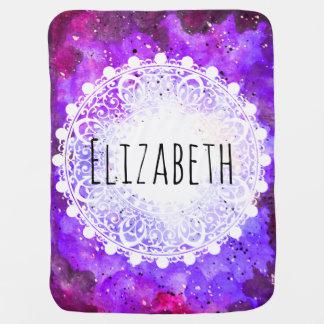 Mantita Para Bebé Mandala púrpura del blanco de la nebulosa del